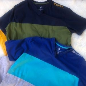 2 3xl ROCAWEAR color block t-shirts spell out logo